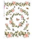Carta di riso Decoupage: Primavera con fiori, uccelli e farfalle