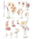 Carta di riso Decoupage: Vaso con fiori - acquerello