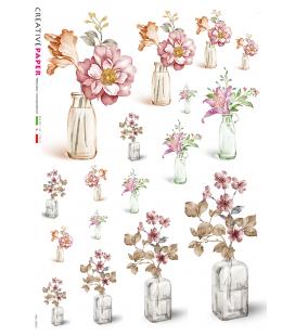 Carta di riso Decoupage: Bottiglie con fiori - acquerello