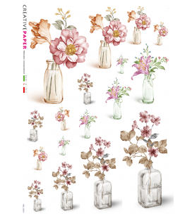 Decoupage rice paper: Bottles with flowers - watercolor