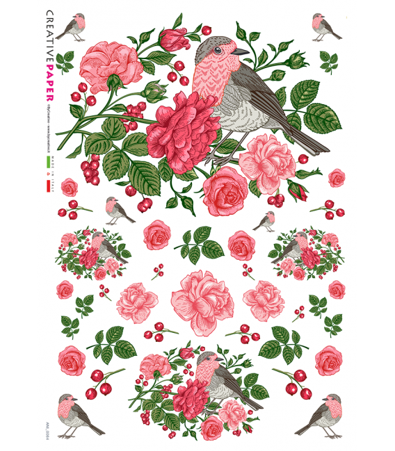 Decoupage rice paper: Roses and robin