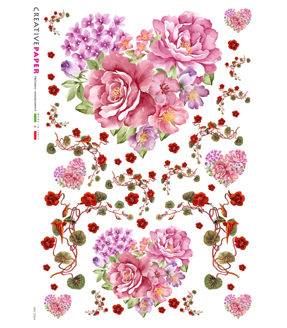 Decoupage Rice Paper Heart And Flower