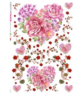 Carta di riso Decoupage: Cuore e fiori