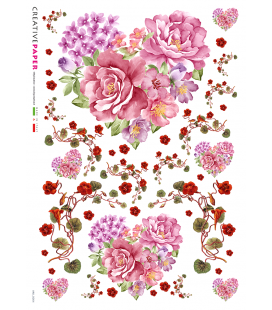 Decoupage rice paper: Heart and flower