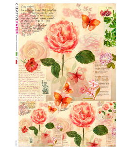 Decoupage rice paper: Peonies, butterflies and poetry