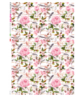 Decoupage rice paper: Peonies and feathers
