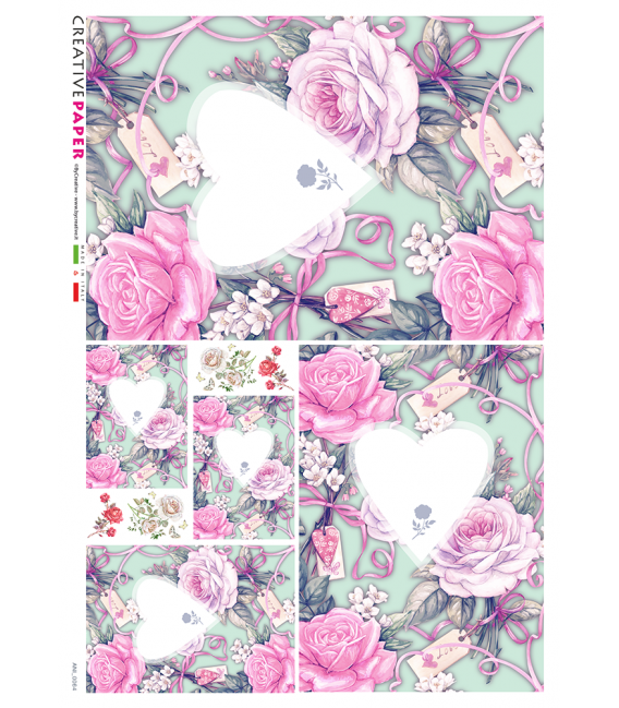 Decoupage rice paper: Hearts of love in the roses