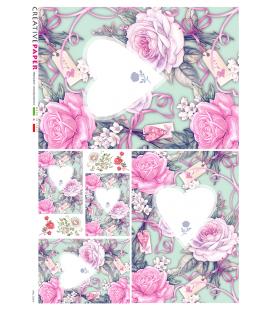 Carta di riso Decoupage: Cuori d'amore tra le rose