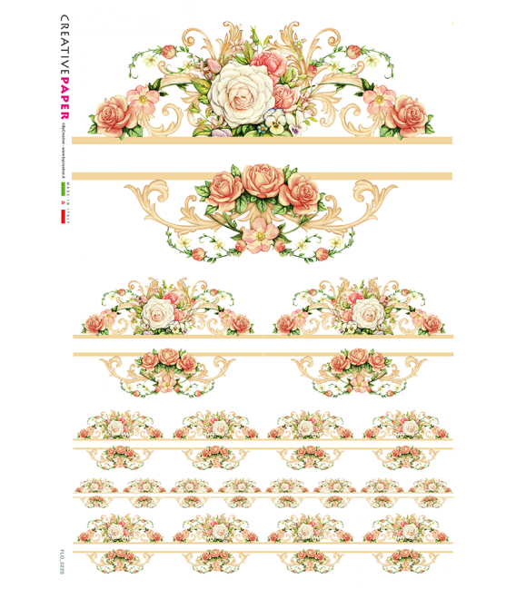 Decoupage rice paper: Frame of red and white roses