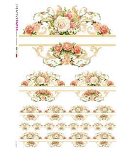 Carta di riso Decoupage: Cornice di rose rosse e bianche