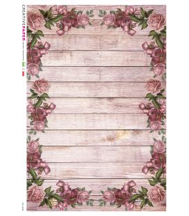 Carta di riso Decoupage: Base di legno con rose