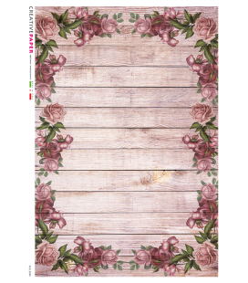 Decoupage rice paper: Wooden base with roses