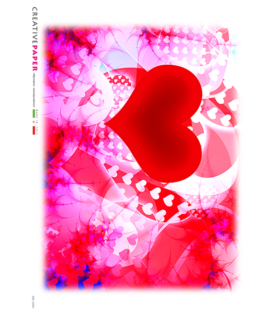 Decoupage rice paper: Red hearts of love
