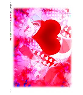Carta di riso Decoupage: Cuori rossi d'amore
