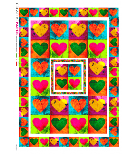 Decoupage rice paper: Red and green hearts