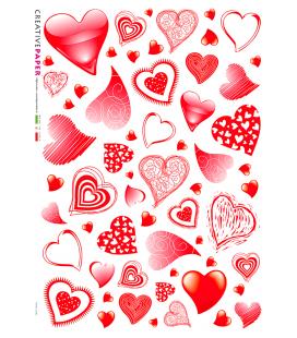 Carta di riso Decoupage: Cuori di San Valentino