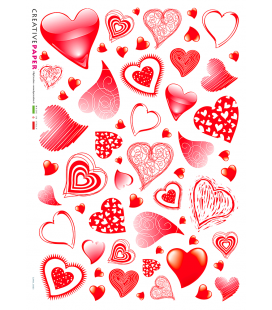 Decoupage rice paper: Valentine's Day Hearts