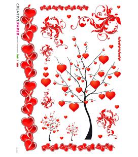 Carta di riso Decoupage: Albero d'amore con cuori