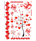 Decoupage rice paper: Tree of love with hearts