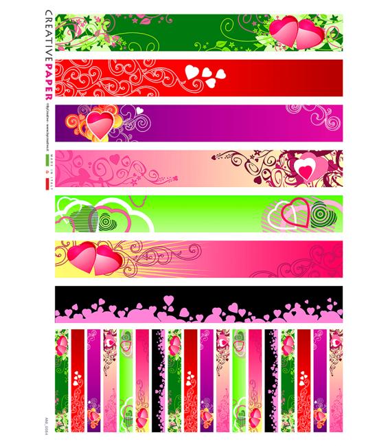 Decoupage rice paper: Hearts stripes