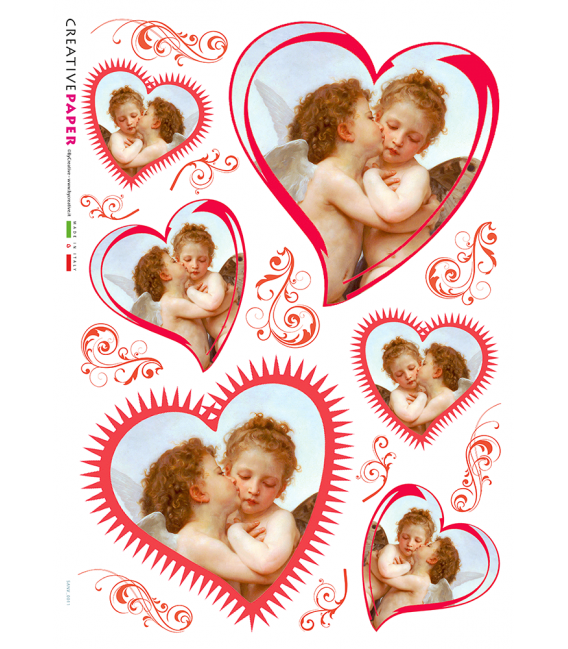 Decoupage rice paper: Angels in love