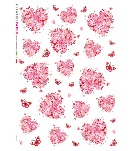 Carta di riso Decoupage: Cuori di fiori