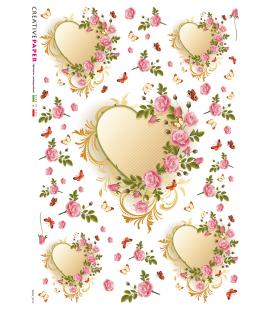 Carta di riso Decoupage: Cuore tra le rose