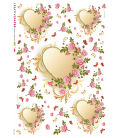 Decoupage rice paper: Heart in the roses