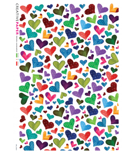 Carta di riso Decoupage: Cuore country multicolore