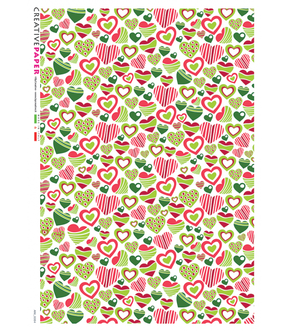 Decoupage rice paper: Cheerful Hearts in beige