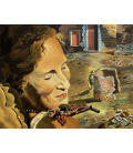 Salvador Dalì - Ritratto di gala con due costole di montone in equilibrio sulla sua spalla. Stampa su tela
