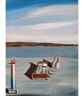 Salvador Dalì - Surrealist composition with invisible figures. Print on canvas