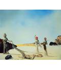 Salvador Dalì - Tre giovani donne surreali che tengono in mano le pelli dell'orchestra. Stampa su tela