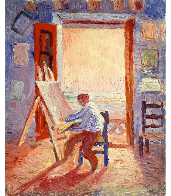 Salvador Dalì - Autoritratto in laboratorio. Stampa su tela