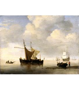 Willem van de Velde. Calm two Dutch Vessels.. Printing on canvas