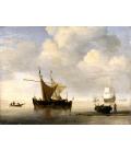 Willem van de Velde. Calma. Due navi olandesi. Stampa su tela