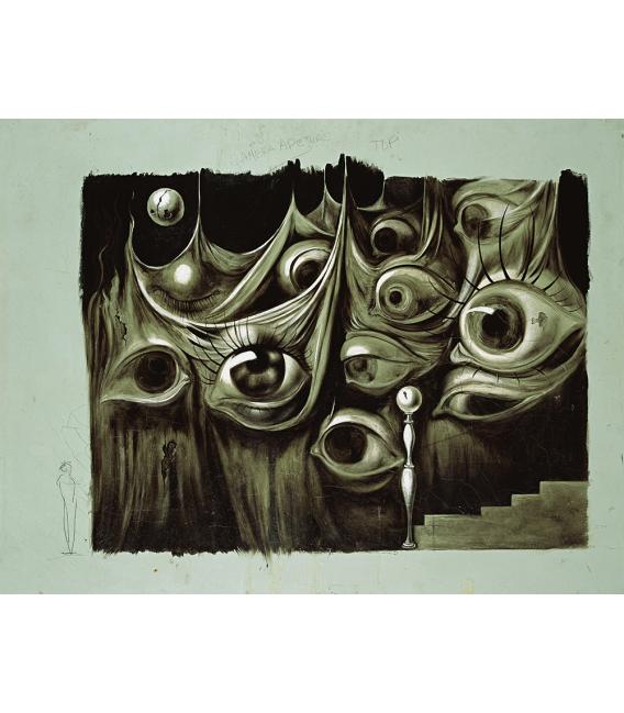 """Salvador Dalì - Progetto per il film: """"Io ti salverò"""". Stampa su tela"""