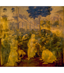 Leonardo da Vinci - Adoration of the Magi. Print on canvas