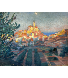 Salvador Dalì - Back view of Cadaqués. Print on canvas