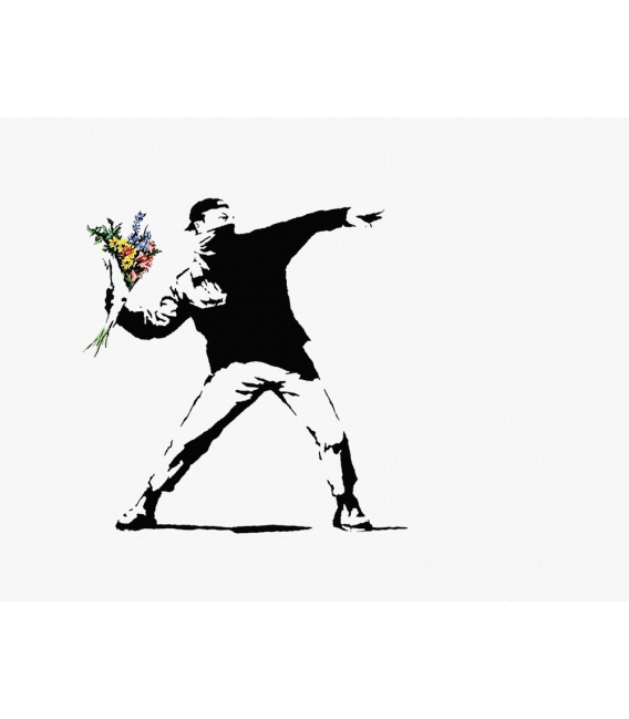 Banksy - Flower Bomber. Stampa su tela