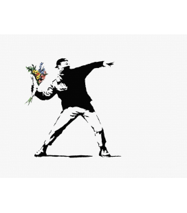 Banksy - Flower Bomber. Print on canvas