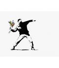 Banksy - Flower Bomber. Print on canvas