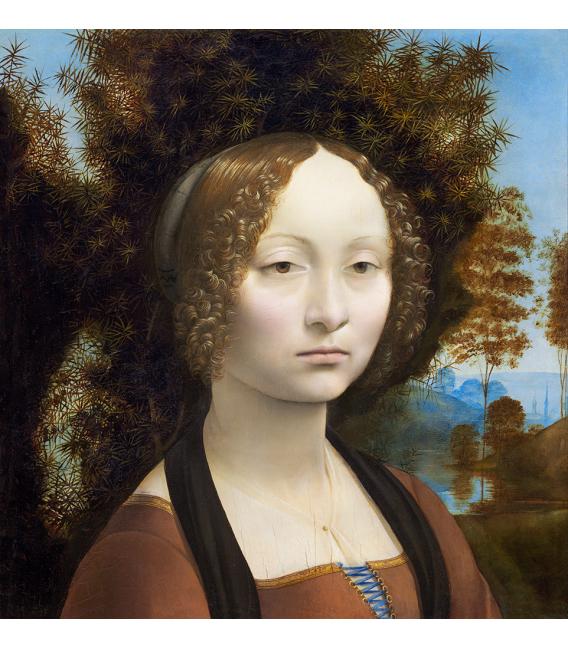 Leonardo Da Vinci. Ginevra dè Benci. Printing on canvas