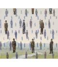 Magritte René - Golconda. Stampa su tela