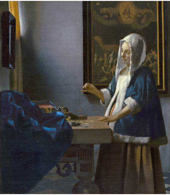 Jan Vermeer - A Woman Holding a Balance. Printing on canvas