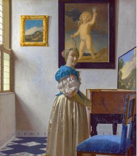 Jan Vermeer - Ritratto di Giovane Donna davanti ad una Spinetta. Stampa su tela