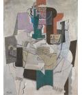 Picasso Pablo - Piatto di frutta, bottiglia e violino. Stampa su tela