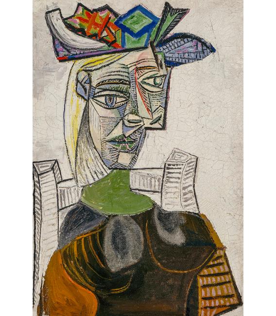 Picasso Pablo - Donna seduta con cappello. Stampa su tela