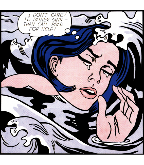 Roy Fox Lichtenstein - Drowning Girl. Printing on canvas