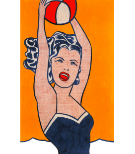 Roy Fox Lichtenstein - Girl with ball. Printing on canvas